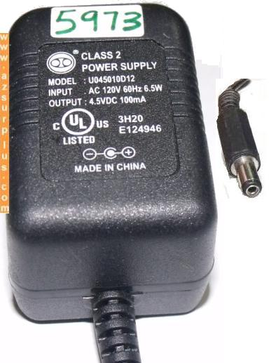 U045010D12 AC ADAPTER 4.5V DC 100mA CLASS 2 POWER SUPPLY