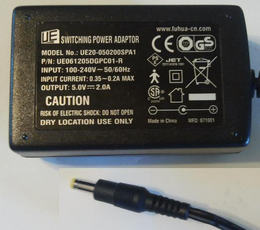 UE UE20-050200SPA1 AC ADAPTER 5VDC 2A USED 1.8 x 4 x 9.5mm