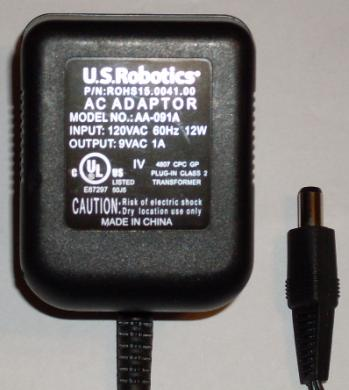 USROBOTICS AA-091A AC ADAPTER 9VAC 1A USED ~(~) 2.5x5.5mm POWER