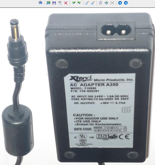XTEND F1960E AC ADAPTER 16VDC 3.75A 2.5x5.5mm 100-240Vac POWER S