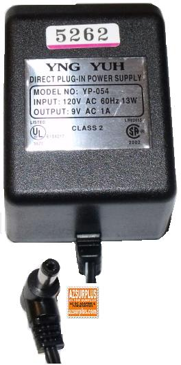 YNG YUH YP-054 AC ADAPTER 9V 1A DIRECT PLUG IN POWER SUPPLY