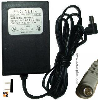 YNG YUH YP-085A AC ADAPTER 7.5VDC 1.5A -(+) 2x5.5mm 90° USED