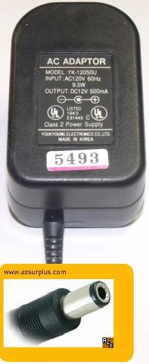 YOUKYOUNG YK-12050U AC ADAPTER 12V 500mA CLASS 2 POWER SUPPLY