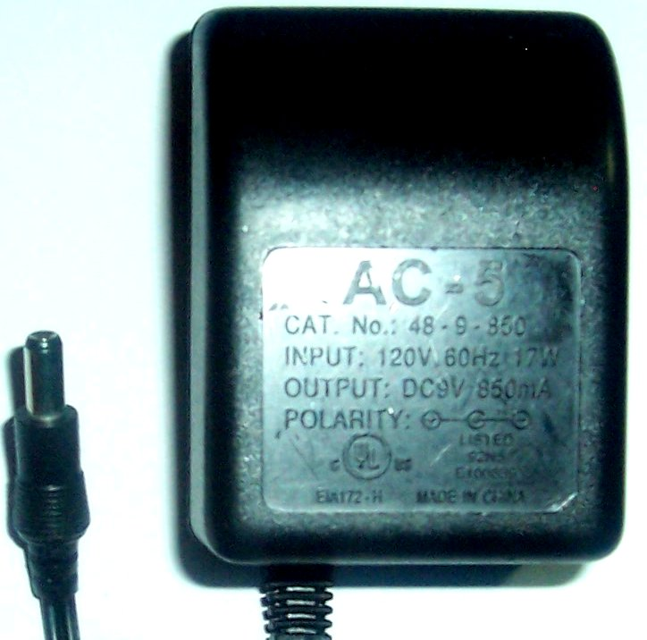 AC-5 48-9-850 AC Adapter DC 9V 850mA Power Supply