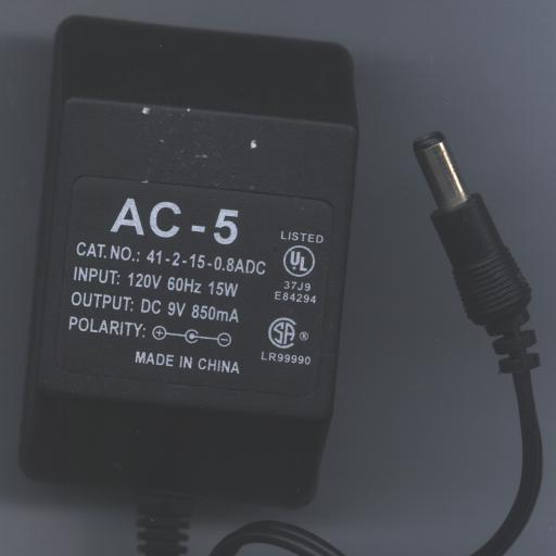 AC-5 41-2-15-0.8ADC AC ADAPTER 9Vdc 850 mA +(-)+ 2x5.5mm 120vac