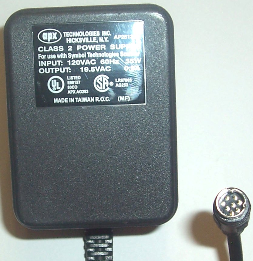 APX AP2513SP AC ADAPTER 19.5VAC 0.8A 8PIN MINI DIN SYMBOL POWER