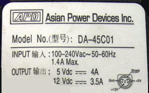 APD AC Adapter DA-45C01 5VDC 4A 12V 3.5A 5PIN Power Supply 5-PIN