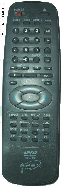 APEX DIGITAL SD-250 DVD VIDEO REMOTE FOR DVD PLAYER