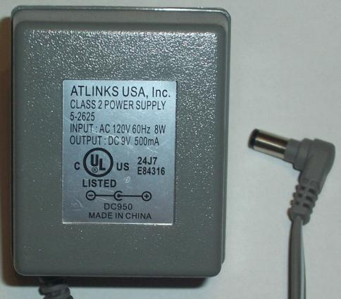ATLINKS 5-2625 AC ADAPTER 9VDC 500MA POWER SUPPLY