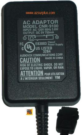 AUDIOVOX CNR-9100 AC ADAPTER 5Vdc 750mA POWER SUPPLY