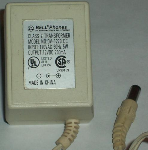 BELL PHONES DV-1220 DC AC ADAPTER 12VDC 200MA POWER SUPPLY