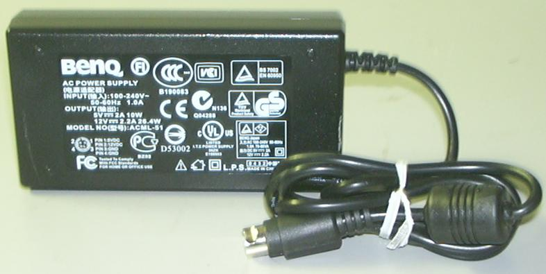 BENQ ACML-51 AC Adapter 12VDC 2.2A 5V 2A 4Pin Mini Din 10mm Used
