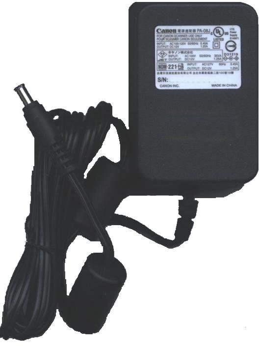 Canon PA-08J AC Adapter 12V 1.25A Power Supply Fits CanoScan 42
