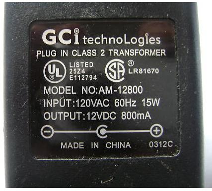 GCI AM-12800 AC ADAPTER 12VDC 800mA USED -(+) 2.1x5mm SPEAKERS P