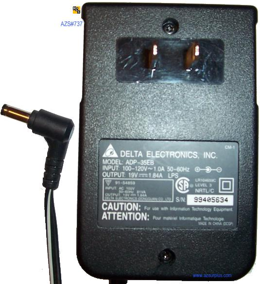 DELTA ELECTRONICS ADP-35EB AC ADAPTER 19VDC 1.84A POWER SUPPLY