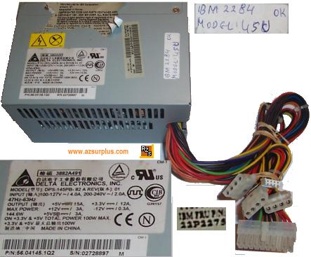 DELTA ELECTRONICS DPS-145PB-82 ATX POWER SUPPLY 100W