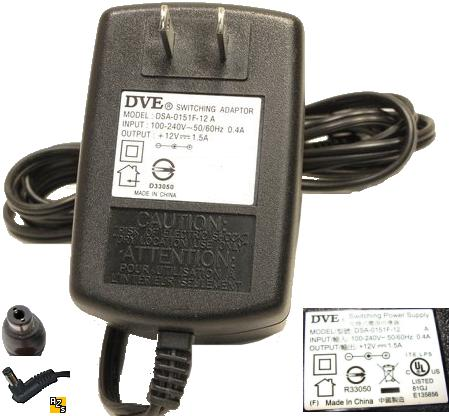 DVE DSA-0151F-12 A AC ADAPTER 12V 1.5A 2.5mm SWITCHING POWER SU