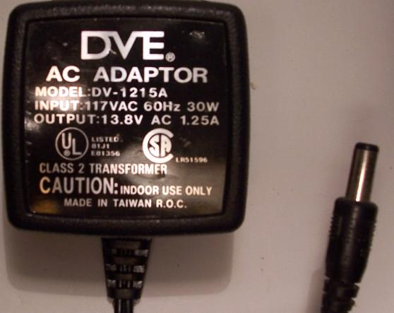 DVE DV-1215A AC ADAPTER 13.8VAC 1.25A POWER SUPPLY