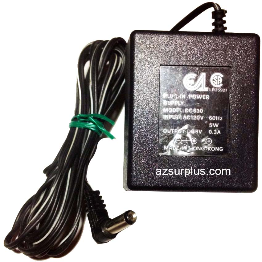 E1 DC360 AC ADAPTER 6VDC 0.3A USED -(+)- 2x5.5mm 90° ROUND