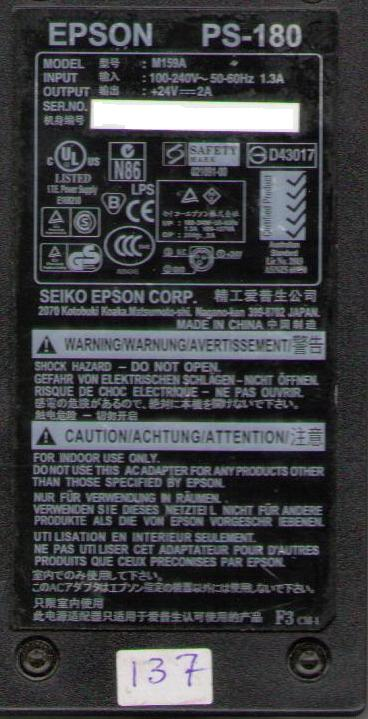 EPSON PS-180 M159A POWER ADAPTER NEW FOR EPSON TM-U950 TM-T88III