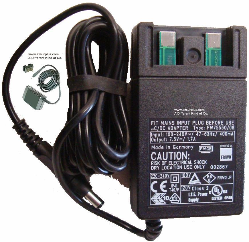 Fit FWGB FW75550/08 AC ADAPTER 7.5VDC 1.7A -(+) 2x5.5mm Used 100