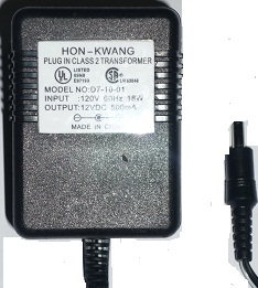 HON-KWANG D7-10-01 AC DC 12V 500MA POWER SUPPLY