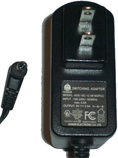 HONOR ADS-18C-12 0918GPCU AC ADAPTER 9VDC 2A POWER SUPPLY Condi