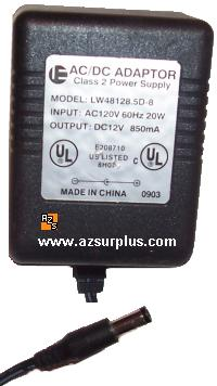 IE LW48128.5D-8 AC ADAPTER 12V DC 850mA CLASS 2 POWER SUPPLY Tra