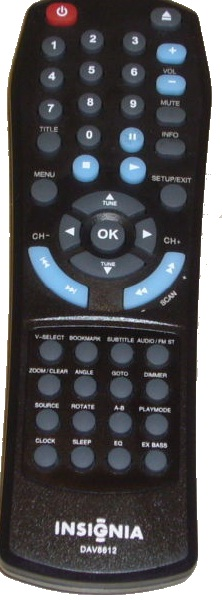 INSIGNIA DAV8612 REMOTE CONTROL BLACK use AAA BATTERY