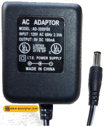I.T.E AD-3509100 AC ADAPTOR 9VDC 100mA Linear POWER SUPPLY BLACK