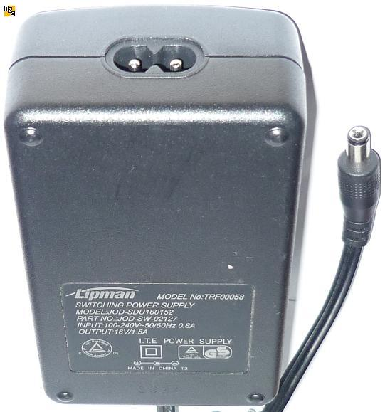 LIPMAN TRF00058 AC ADAPTER 16VDC 1.5A +(-) 2.1x5.5mm Used 100-24