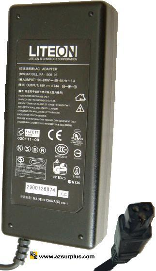 LITEON PA-1900-05 AC ADAPTER 19VDC 4.74A POWER SUPPLY