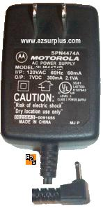 Motorola SPN4474A AC Adapter 7VDC 300mA Cell Phone Power Supply