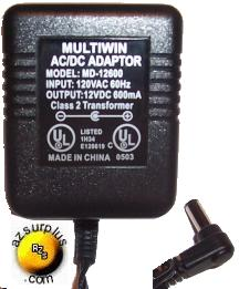 MULTIWIN MD-12600 AC ADAPTER 12Vdc 600mA USED -(+) 2x5.5mm POWER