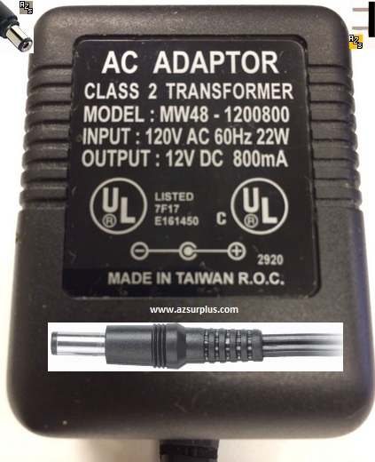 MW48-1200800 AC ADAPTER 12VDC 800mA -(+) 2x5.5mm 120vac Used Pow