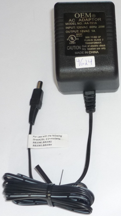 OEM AA-151A AC ADAPTER 15VAC 1A ~(~) 2x5.5mm POWER SUPPLY