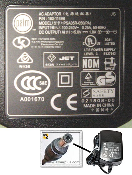 Palm PSA05R-050(PA) AC ADAPTER 5VDC 1A Power Supply Direct plugi