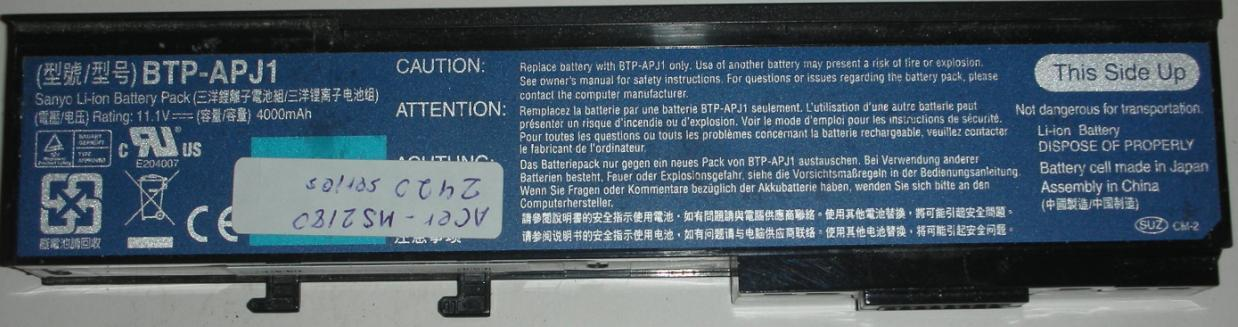 SANYO BTP-APJ1 Battery Pack for Acer Laptop notebook computer