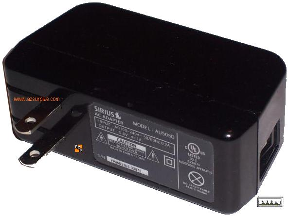SIRIUS AU505D AC ADAPTER 5V 1A POWER SUPPLY