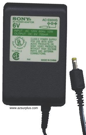 SONY AC E60HG AC ADAPTER 6Vdc 700mA -(+) 1.7x4mm 120vac Power Su