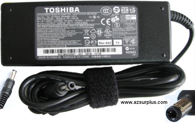 TOSHIBA PA-1750-09 AC ADAPTER 19VDC 3.95A USED -(+) 2.5x5.5x12mm