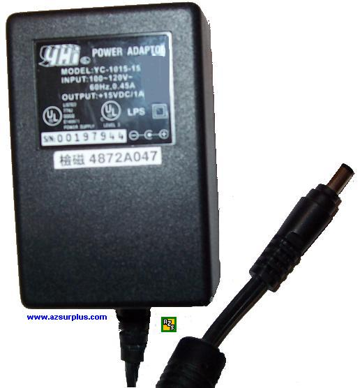 YHI YC-1015-15 AC DC ADAPTER 15V 1A POWER SUPPLY